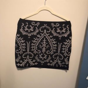 Black with Gold Embroidered Skirt